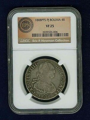 Bolivia  Spanish Colonial  1808-Pj  4 Reales Coin, Certified Ngc Vf-25