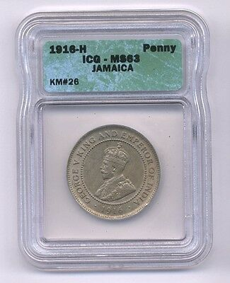 Jamaica  1916  1 Penny  Coin, Choice Uncirculated, Icg Certified Ms-63