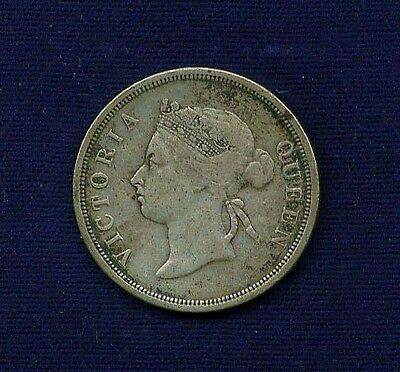 Straits Settlements Victoria 1891 50 Cents Silver Coin, Vf+