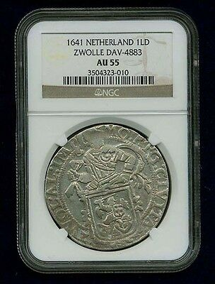 Netherlands   Zwolle  1641  1 Lion Daalder Silver Coin, Ngc Certified Au55