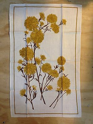Vintage Retro Floral LINEN COTTON TEA TOWEL Made in Poland