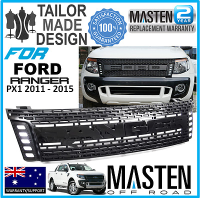 Front Black Grille Grill For Ford Ranger Raptor T6 2011-2015 Led Amber Bar Lit