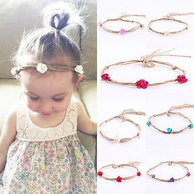 7Pcs Cute Kids Girl Baby Toddler Bow Headband Hair Band Accessories Headwear HE