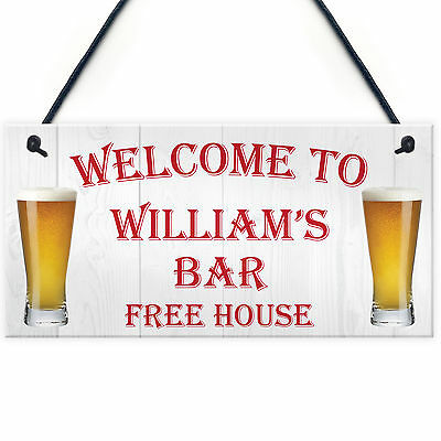 Personalised Pub Bar Man Cave Hanging Sign Garden Shed BBQ Home Brewery