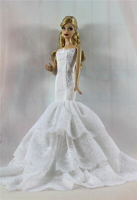 White Royalty Mermaid Dress Party Dress/Clothes/Gown For Barbie Doll S514U
