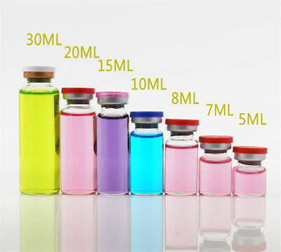 10X Glass Vial Snuff Bottle Sterile Sealed Alloy Lid Essential Oil Aromatherapy