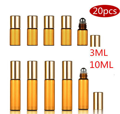 20XRefillable Amber Glass Perfume Bottle Metal Roller Essential Oil Aromatherapy