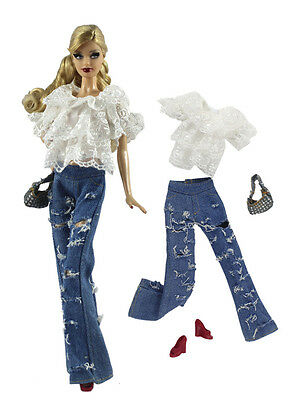 4in1 Fashion clothes/outfit Casual wear Shirt+pants+shoes+bag For Barbie Doll