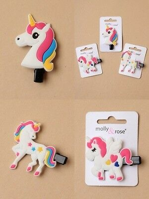 Pack Of 6 Unicorn Motif Forked Beak Clips, Hair Accessory, Grips : Sp-6673 Pk6