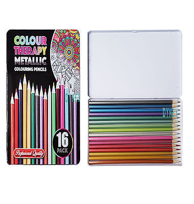 16 x Colour Therapy Metallic Professional Artist Quality Colouring Pencils +Tin