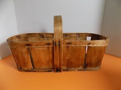 Vintage Strawberry Berry Wooden Basket with Handles Very Old