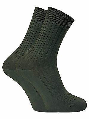 Dr Hunter - 2 Pack Mens Breathable 100% Cotton Green Hiking Crew Socks