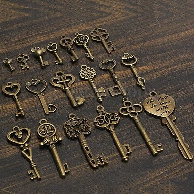 19Pcs Antique Vintage Old Look Skeleton Key Pendant Set Heart Bow Lock Jewel US