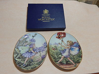 Royal Worcester. The Chicory Fairy and The Pansy Fairy. 2 x Oval plates.