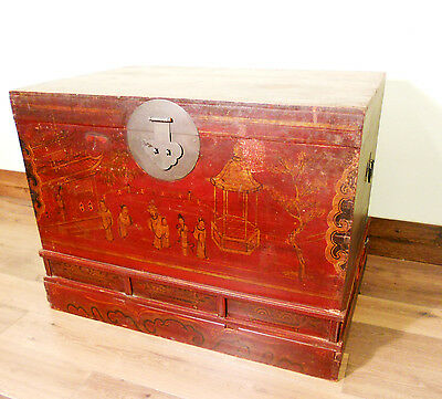 Antique Chinese Trunk (5607), Hand Painted Red Lacquer , Circa 1800-1849