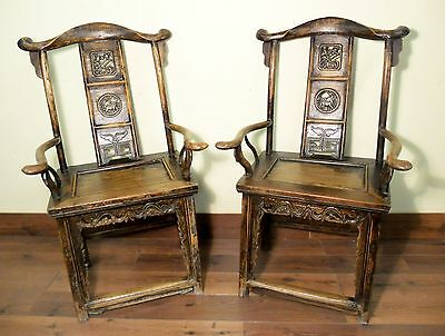 Antique Chinese High Back Arm Chairs (5501) One Pair, Circa 1800-1849