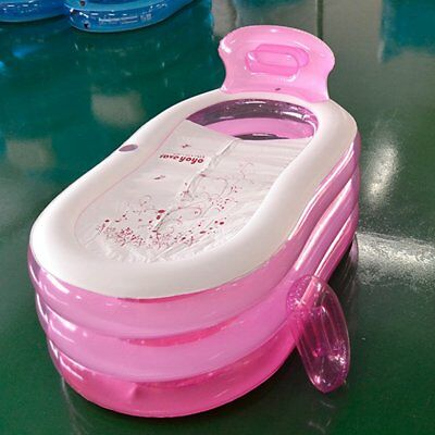 Pink Folding Portable Adult Warm Bathtub Inflatable Bathtub With Air Pump