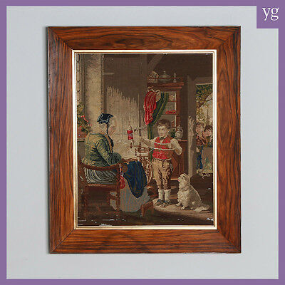 Antique French Needlework Petit Point Wool Framed Tapestry Wall Hanging Picture
