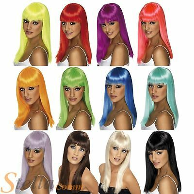 Ladies Long Straight Glamourama Wig Fancy Dress Costume Accessory