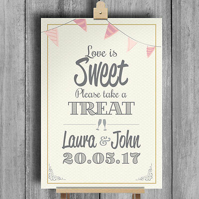 Bunting •  Love Is Sweet Candy Buffet • Personalised Wedding Sign