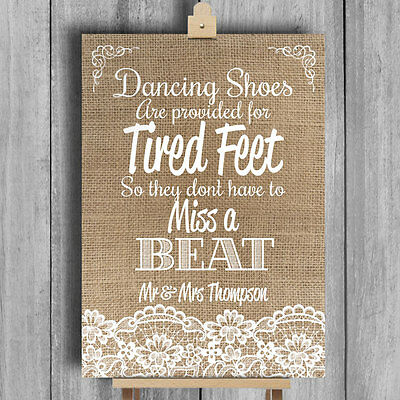 e56630e3b Burlap   Lace Ef • Personalised Wedding Sign • Flip Flops Sandals For Tired  Feet