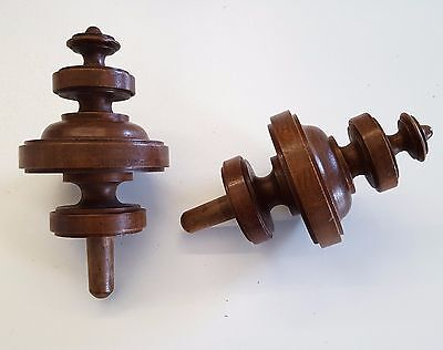 Matched pair of ANTIQUE FRENCH WOOD POST FINIAL END CAP Furniture 4.84 inches