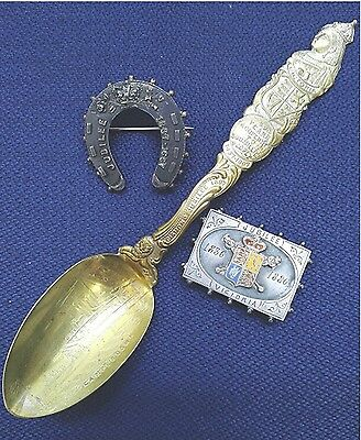 (cz41) Anitique Queen Victoria JUBILEE Sterling Silver Spoon and Brooch Lot