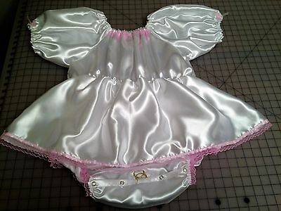 White ABDL Adult Baby Satin One Piece Bubble Romper with attached Skirt