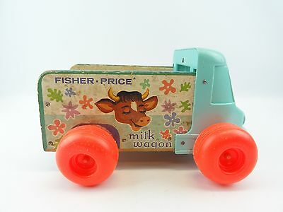 Fisher Price #131 Milk Wagon Vintage 1965 Turquoise Truck Only Cow Numbers