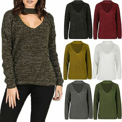 Womens Ladies Chunky Knitted Keyhole Cut Choker Neck Oversized Baggy Jumper Top