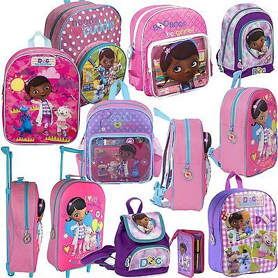 Disney 3D Doc McStuffins Kids Backpack Junior Rucksack School Boys Girls Bag NEW