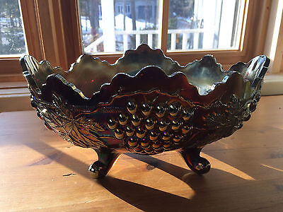 Northwood Carnival Glass Banana- Fruitbowl Grape and Cable Oxblood-Amethyst