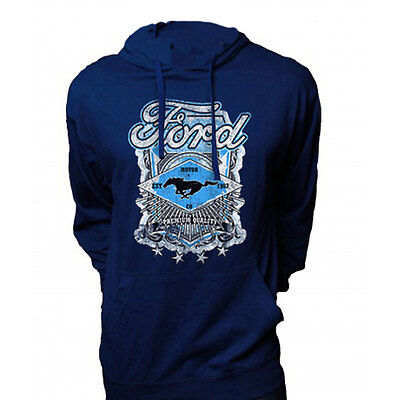 Apparel Jersey Hoodie XX-Large Pull-Over Dark Blue With Ford Mustang Premium Qua