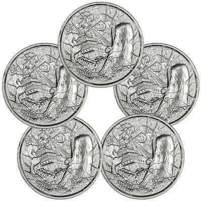 Lot of 5 Elemetal Mint Privateer UHR Moby-Dick White Whale 2 oz Round SKU46607