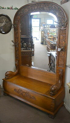 Monumental Antique Oak Hall Tree Bench with Carved Fish