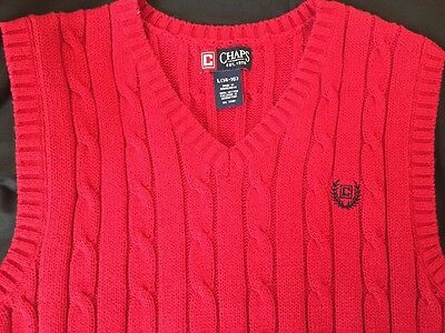 Chaps Boys Sweater Vest Cable Knit Cotton Solid red  Kids sizes 14-16