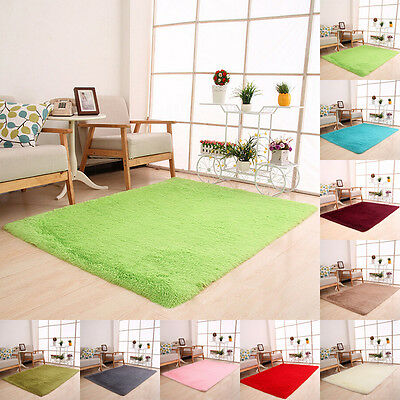 Fluffy Rugs Anti-Skid Shaggy Area Rug Home Living Room Bedroom Floor Mat Carpet
