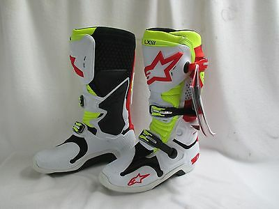 Alpinestars Tech 10 White Red Yellow Motocross Racing Boots 3410 Size 12