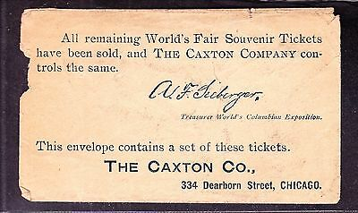 US Columbian Ticket Envelope from The Caxton Company, Chicago VF appr