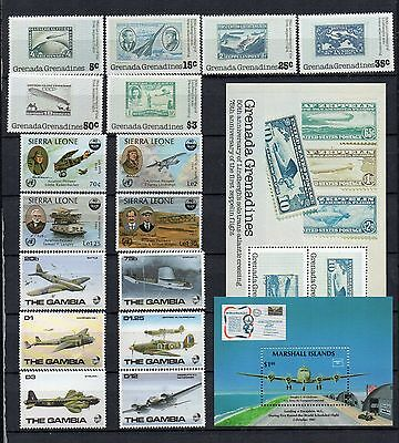 AVIATION AIRCRAFT Thematic STAMP Collection GAMBIA SIERRA GRANADA1990s REF:TS240