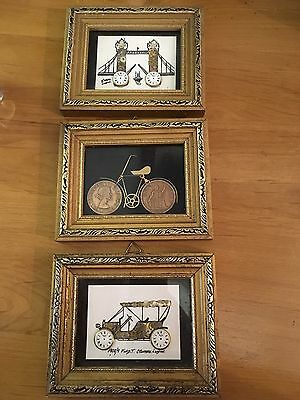 3 Handmade pictures by G Burgess From Watch Parts Coins Vintage