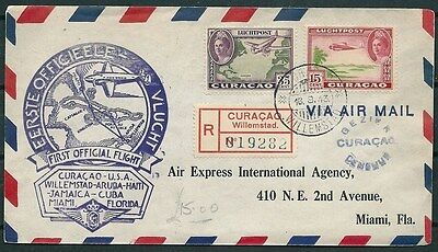 Curacao 1943 Registered Cover First Official Flight To Usa -Cag 030516