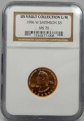 1996 W $5 Gold Smithsonian Commemorative - NGC Graded MS70 !!