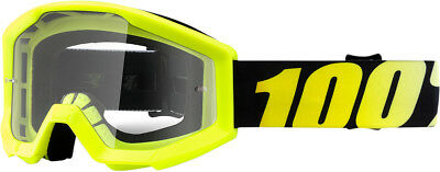 100% Clear Lens Hi-Vis Yellow Strata Junior Neon Yellow Youth Dirt Bike Goggles