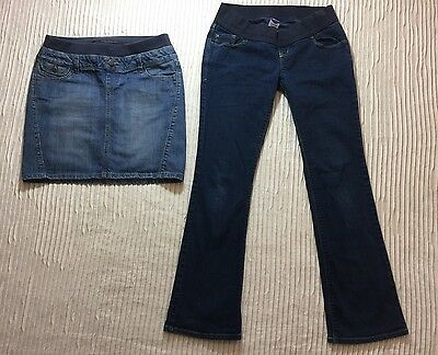 2piece Lot OLD NAVY MATERNITY Stretch Low Rise Boot Cut Pants S Blue Denim Skirt