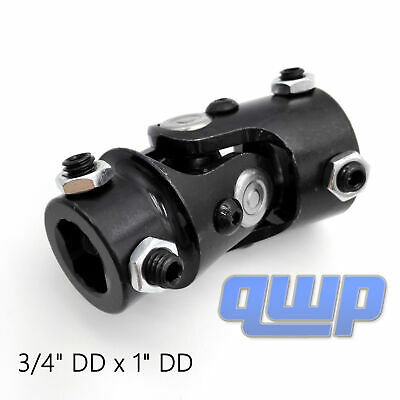 "New Universal Black Steering Box U Joint 3/4"" DD x 1"" DD Column Size Column"