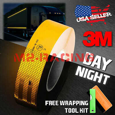 """3M 2""""x150' Diamond Grade Golden Yellow Conspicuity Reflective Tape Warning Sign"""