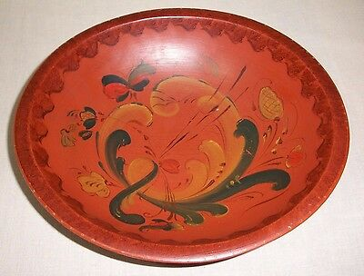 Vintage Norwegian Rosemaling Wood Munising Bowl Signed Folk Art