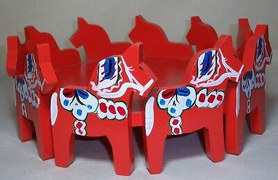 Swedish Dala Horse Design Wood Cookie Tray Centerpiece Folk Art Signed & Dated