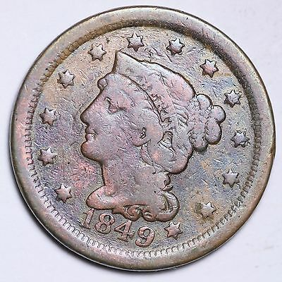 1849 Braided Hair Large Cent Penny CHOICE FREE SHIPPING E107 T